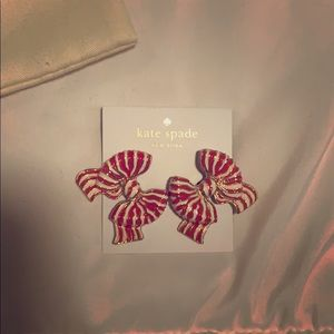 Kate Spade red & white bow earrings NWT Authentic